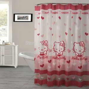Hello Kitty Shower Curtain Pink with Hearts